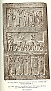 DETAILS FROM SECOND SIDE OF BLACK OBELISK OF SHALMANESER III<br> (1) Tribute bearers of Jehu, King of Israel. (2) Tributary Animals. (3) Tribute bearers with shawls and bags<br> (<i>British Museum</i>)