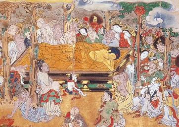 The Death of Buddha, Japanese print, 17th century, detail (public domain image);