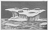 ROCK IN ICE.<br> The author claims that the rocks show in the above illustration were thrown into the air by a volcanic explosion, and dropped upon the berg while it was forming.