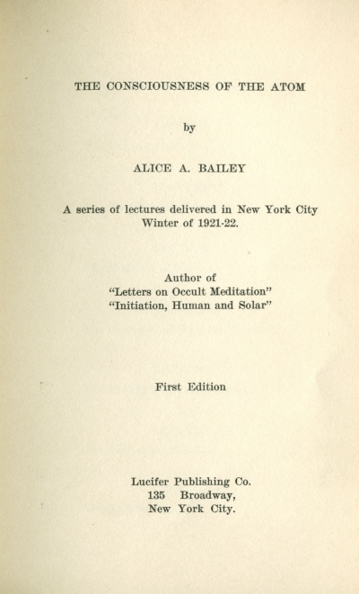 the consciousness of the atom  title page