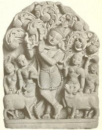 Krishna dances with the Gopis (photo from Indian Myth and Legend by Donald Mackenzie, 1913, p. 128) [Public Domain Image]
