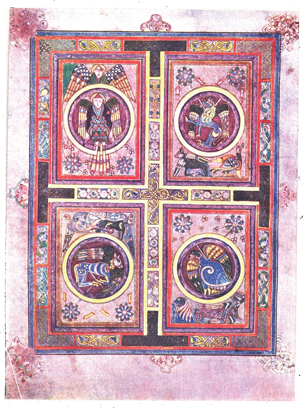 The Book Of Kells Illustrations Plate Xii The Evangelical Symbols