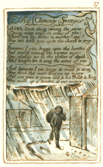 an analysis of william blakes poem the chimney sweeper William blake's notebook draft of 'the chimney sweeper' for songs of  the  speaker here wears 'the clothes of death' and sings 'the notes of.